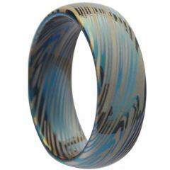 COI Titanium Blus Silver Damascus Dome Court Ring - JT258AA