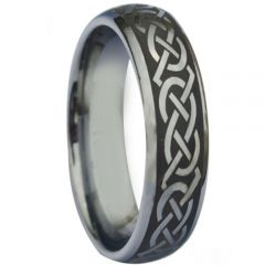 COI Titanium Black Silver Dome Court Celtic Ring - 880
