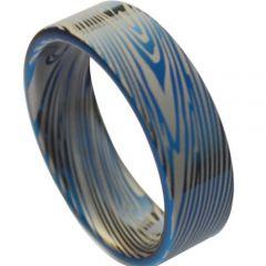 COI Titanium Blue Silver Damascus Pipe Cut Flat Ring - JT1373AA