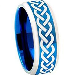 COI Titanium Blue Silver Celtic Beveled Edges Ring - 1002