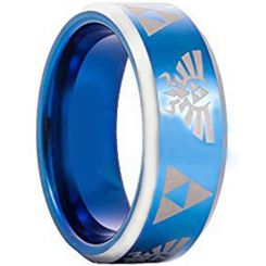 COI Titanium Blue Silver Legend of Zelda Beveled Edges Ring-1168