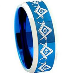 COI Titanium Blue Silver Masonic Beveled Edges Ring - JT1201AA