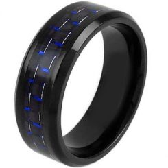 COI Black Titanium Beveled Edges Ring With Carbon Fiber-1205