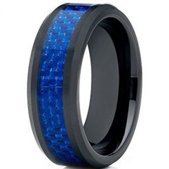 COI Black Titanium Beveled Edges Ring With Carbon Fiber-JT1277