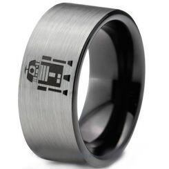 COI Titanium Black Silver R2D2 Pipe Cut Flat Ring - 1426