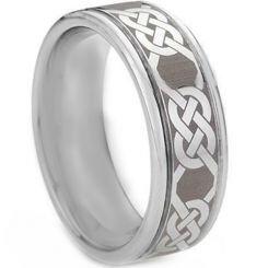 *COI Titanium Double Grooves Celtic Ring-1434
