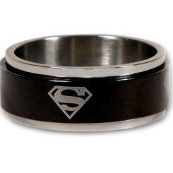 *COI Titanium Black Silver Superman Step Edges Ring - JT1493A