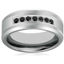 *COI Titanium Ring With Black Cubic Zirconia - JT1709AA