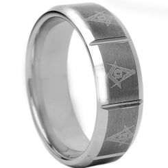 *COI Titanium Masonic Vertical Grooves Beveled Edges Ring - 1760