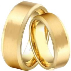 COI Gold Tone Titanium Beveled Edges Ring - JT3871