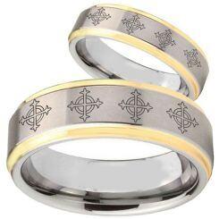 COI Titanium Gold Tone Silver Cross Step Edges Ring - 1865