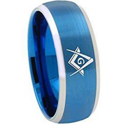 COI Titanium Blue Silver Masonic Beveled Edges Ring - 1867