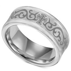 COI Titanium Cross Celtic Double Grooves Ring - 1967