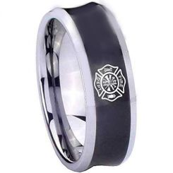 COI Titanium Black Silver Firefighter Concave Ring - 2030