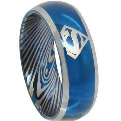 *COI Titanium Superman Damascus Beveled Edges Ring - JT2085A