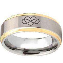 *COI Titanium Gold Tone Silver Infinity Heart Step Edges Ring-2094