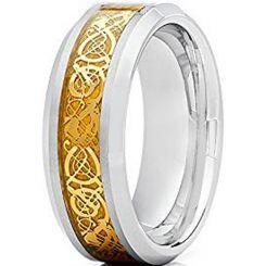 COI Titanium Gold Tone Dragon Beveled Edges Ring - JT2278AA