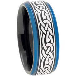 COI Titanium Black Blue Celtic Step Edges Ring - 2211
