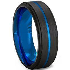COI Titanium Black Blue Center Groove Step Edges Ring - 2219