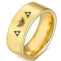 COI Gold Tone Titanium Legend of Zelda Pipe Cut Flat Ring-2220