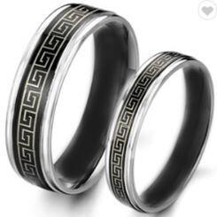 COI Titanium Black Silver Celtic Beveled Edges Ring - 2246