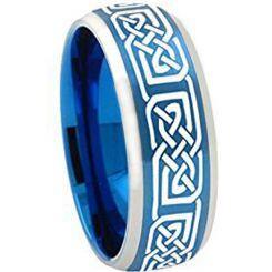 COI Titanium Blue Silver Celtic Beveled Edges Ring - 2251