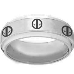 COI Titanium DeadPool Step Edges Ring - 2261