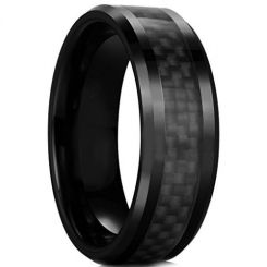 COI Black Titanium Beveled Edges Ring With Carbon Fiber-JT2729