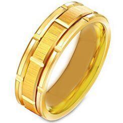 **COI Gold Tone Titanium Tire Tread Brick Pattern Ring - 231