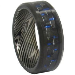 COI Black Titanium Damascus Carbon Fiber Ring-JT2367