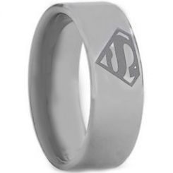 *COI Titanium Superman Pipe Cut Flat Ring - JT2400