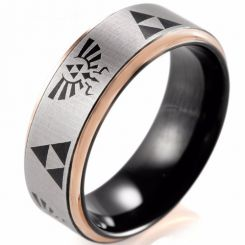 COI Titanium Black Rose Legend of Zelda Step Edges Ring-2410