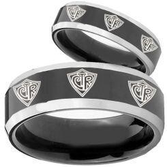 COI Titanium Black Silver CTR Beveled Edges Ring - 2432
