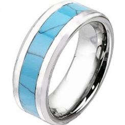COI Titanium Turquoise Beveled Edges Ring - 2438