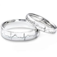 *COI Platinum White Titanium Heartbeat Dome Court Ring-JT2571