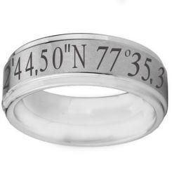 COI Titanium Black Silver Custom Coordinate Step Edges Ring-2573