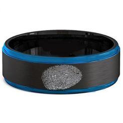 COI Titanium Black Blue Custom FingerPrint Step Edges Ring-2581