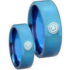 COI Blue Titanium Captain America Pipe Cut Flat Ring-JT2657
