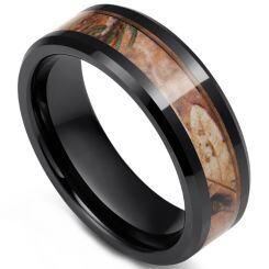 COI Black Titanium Camo Beveled Edges Ring - JT2700