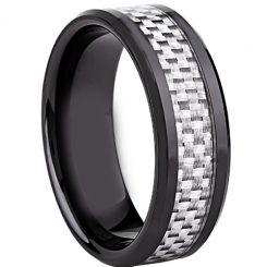 COI Black Titanium Beveled Edges Ring With Carbon Fiber-JT2728