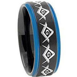 COI Titanium Black Blue Masonic Step Edges Ring - 2741