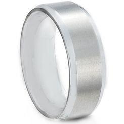 **COI Titanium Polished Shiny Matt Beveled Edges Ring-JT5084