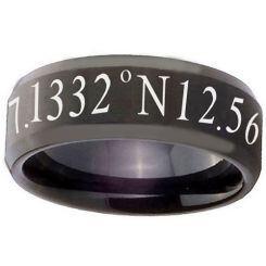 COI Black Titanium Custom Coordinate Step Edges Ring - 2791