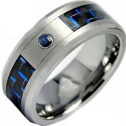 *COI Titanium Ring With Carbon Fiber & Created Sapphire-2802