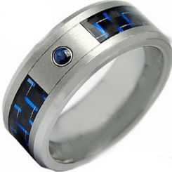 *COI Titanium Ring With Carbon Fiber & Created Sapphire-2802