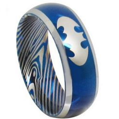 COI Titanium Batman Damascus Beveled Edges Ring - JT281AA