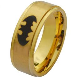 COI Gold Tone Titanium BatMan Step Edges Ring - JT2882A