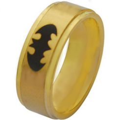 *COI Gold Tone Titanium Batman Step Edges Ring - JT2882A