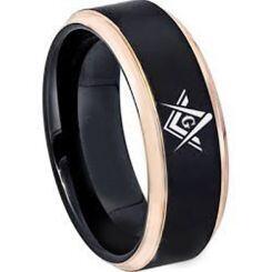 COI Titanium Black Rose Masonic Beveled Edges Ring - 2865