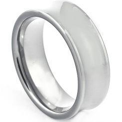 COI Platinum White Titanium Concave Wedding Band Ring - JT264